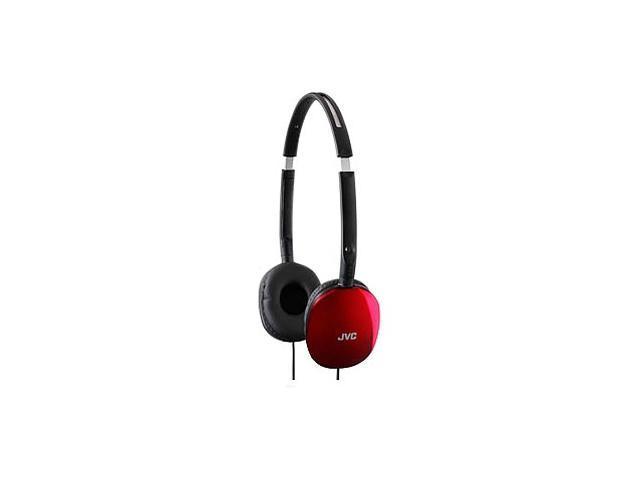 JVC HA-S160R 3.5mm Connector Supra-aural FLATS Lightweight Headband Headphones (Red)