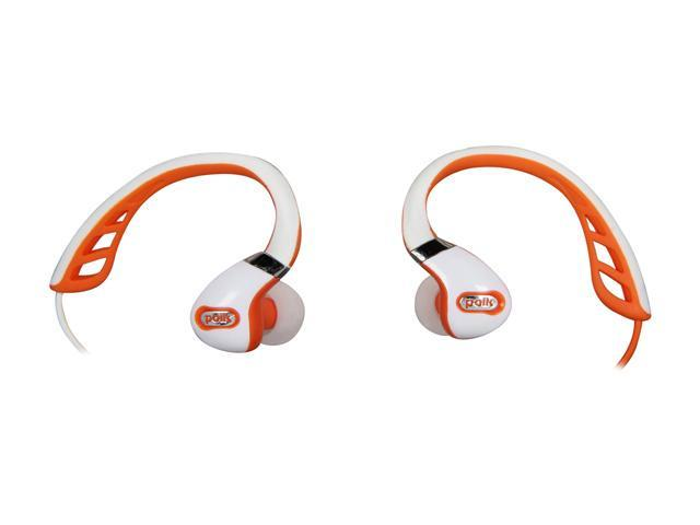 Polk Audio White/Orange UltraFit 3000 In-Ear Canal Sports Headphone - White/Orange