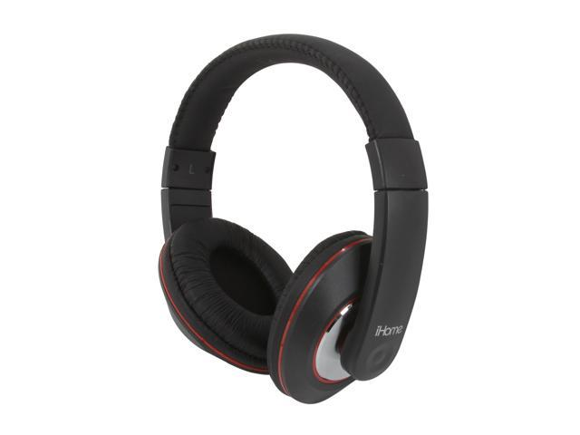iHome iB40B 3.5mm/ 6.3mm Connector Over-the-Ear Studio Monitor Style Stereo Headphone with In-Line Volume Control - Black