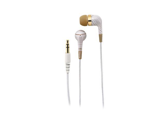 iHome White Circumaural Noise Isolating Fashion Earphones-White And Gold Striped