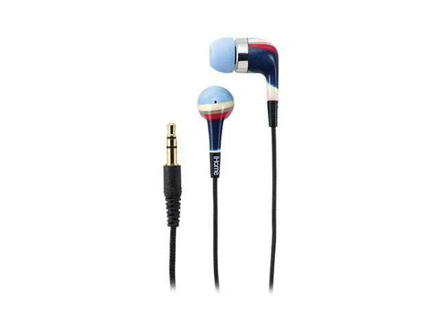 iHome Blue IB20LM Earbud Noise Isolating Fashion Earphones-Blue Multi Striped