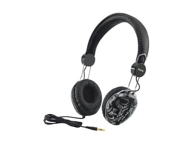 iHome Black IB43BD Circumaural Fashion Headphones-Black Design