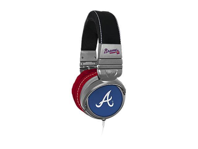 BiGR Audio XLMLBAB1 3.5mm Connector Over-Ear Atlanta Braves Headphones with In-Line Mic