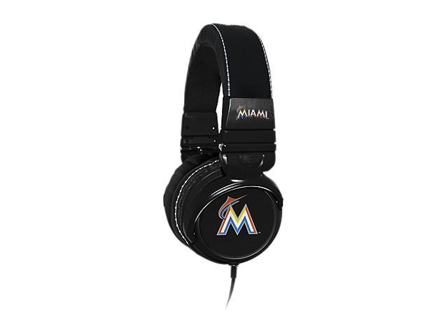 BiGR Audio XLMLBMM1 3.5mm Connector Over-Ear Miami Marlins Headphones with In-Line Mic