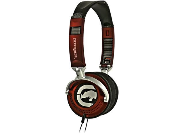 Ecko Red EKU-MTN-RD 3.5mm Connector Over-Ear Motion Foldable Noise-Reducing Headphone (Red)