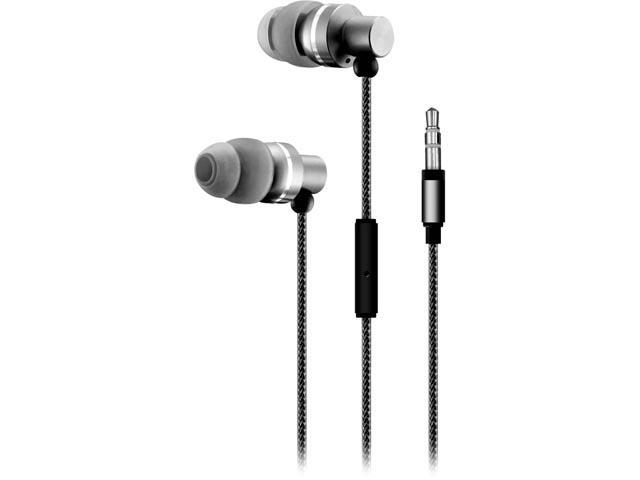 Sentry Black HA200 3.5mm Connector Premium Stereo Earbuds with Mic and Case