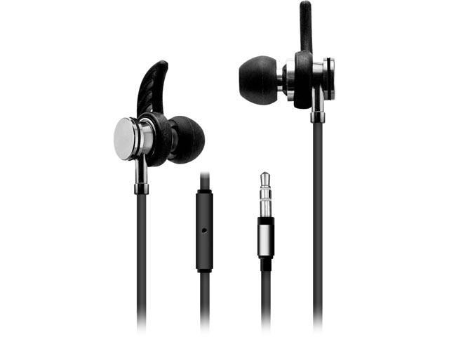 Sentry Black HA300 3.5mm Connector Sport Earbuds with Mic and Case