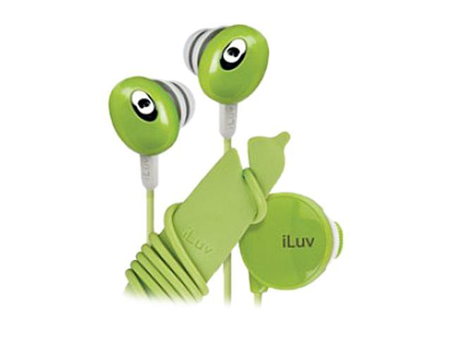 iLuv The Bean Green iEP311GRN 3.5mm Connector Canal Stereo Earphone with Volume Control