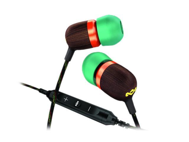 House of Marley Smile Jamaica EM-JE003-RA 3.5mm Connector In-Ear Headphones with Mic and 3-Button Controller - Rasta