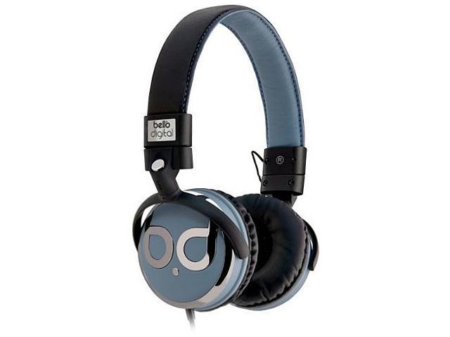 BellO Black/Blue & Dark Chrome Color BDH821BKBL 3.5mm Connector Circumaural Over-the-Head Headphones with Track Control and Microphone