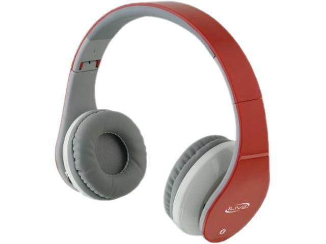 iLive Red IAHB64R 3.5mm/ USB Connector Supra-aural Bluetooth Headphones Built In Microphone