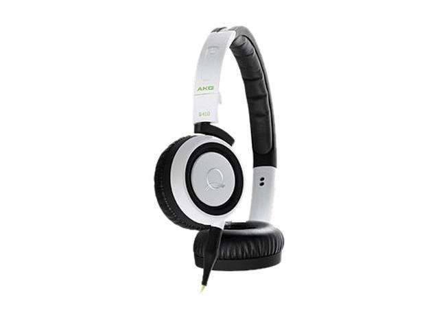 AKG White with Lime Accents Q460WHT On-Ear Quincy Jones Signature Line Foldable Mini Headphone (White)