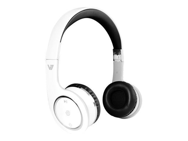 V7 White HS6000-BT-WHT-9NC Circumaural Bluetooth/NFC Headset