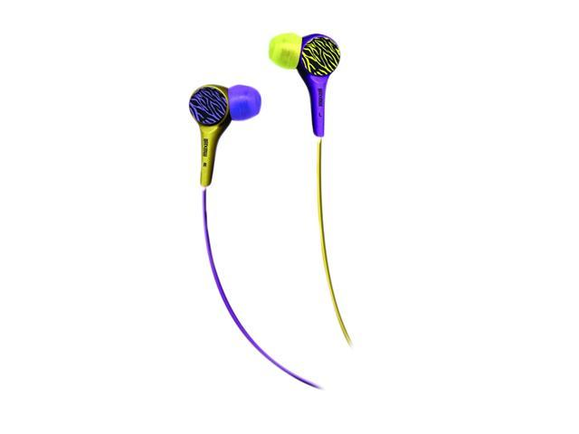 Maxell Purple/Yellow Zebra 190342 Earbud Wild Things Stereo Earbud
