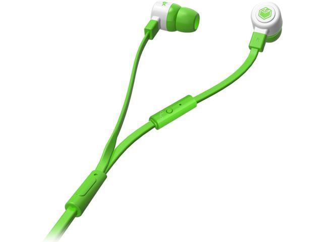 MQbix Green MQGT26GRN-L 3.5mm Connector Talking AeroFones Flat Cable Earphones with Mic
