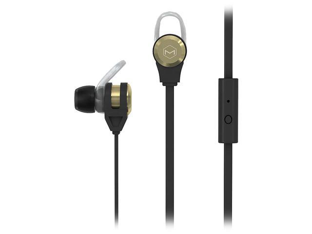 MQbix Gold MQET39GLD 3.5mm Connector Platinum2 High Performance Secure-Fit Earphones with Tangle-Free Flat Cable and Mic Gold