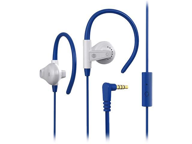MQbix White MQET46WHT 3.5mm Connector Aerofones Sports Earhook Earphones with Mic