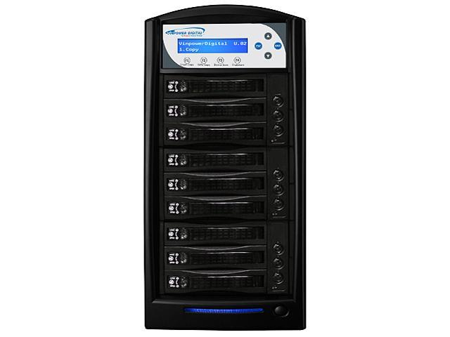 VINPOWER Black 1 to 8 128M Buffer Memory HDDShark HDD SSD Data Solid State Hard Drive Duplicator Model HDDShark-8T-BK
