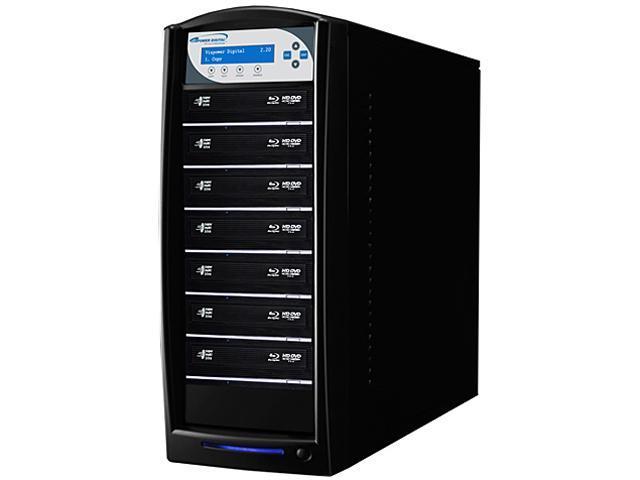 VINPOWER Black 1 to 7 SharkBlu Blu-ray DVD CD Disc Duplicator + 500GB HDD + USB 3.0 CopyConnect Model SharkBlu-S7T-BK