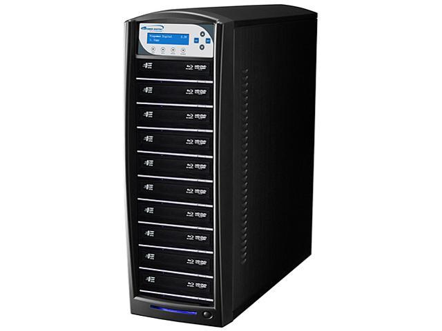 VINPOWER Black 1 to 10 128M Buffer Memory SharkBlu Blu-ray DVD CD Disc Duplicator + 500GB HDD + USB 3.0 CopyConnect Model SharkBlu-S10T-BK