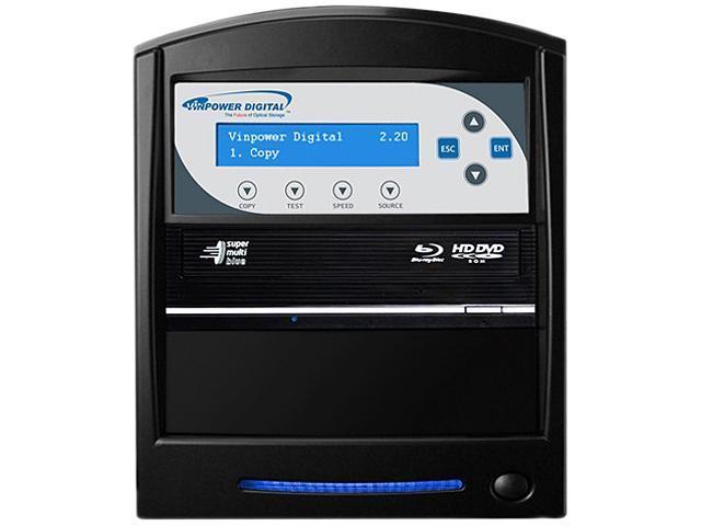 VINPOWER Black 1 to 1 SharkBlu Blu-ray DVD CD Duplicator Tower with 500GB Hard Drive + USB 3.0 + CopyConnect Model SharkBlu-S1T-BK