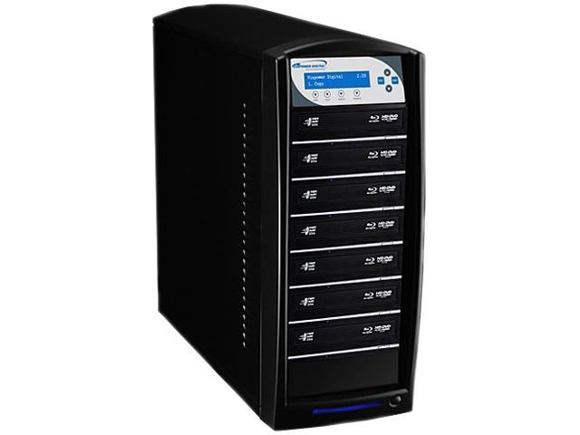 VINPOWER Black 1 to 7 SharkNet Blu-ray DVD CD NetWork Duplicator Tower with 500GB Hard Drive Model SharkNet-7T-BD-BK