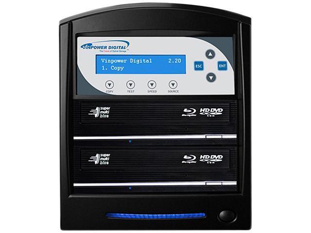 VINPOWER Black 1 to 2 SharkBlu Blu-ray DVD CD Duplicator Tower with 500GB Hard Drive + USB 3.0 + CopyConnect Model SharkBlu-S2T-BK