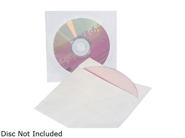 inland 2854 Pro Paper CD DVD Sleeves White 50-Pack