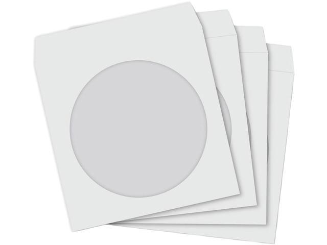 TekNmotion TM-WS1000 1000 Single CD / DVD Paper Sleeves with Clear Window and Fold-over Flap