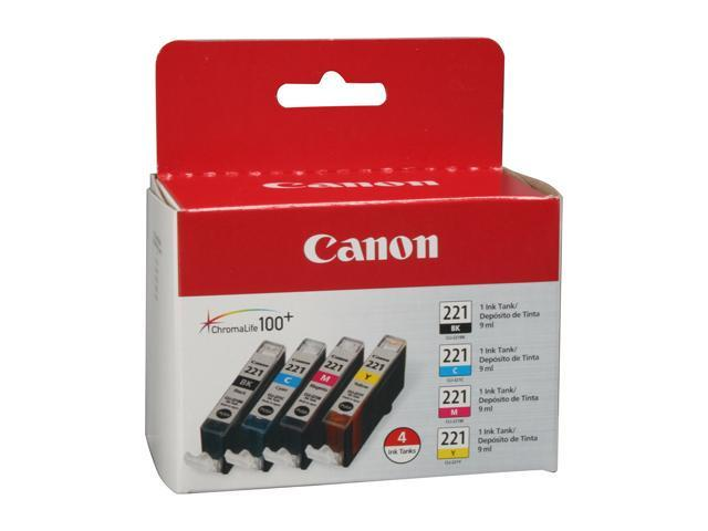 Canon CLI-221 (2946B004) Ink Cartridge; Black, Cyan, Magenta, Yellow
