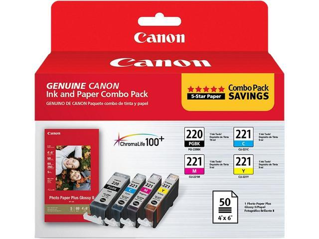 Canon Canon PGI-220 & CLI-221, Cartridge 220, Cartridge 221 (2945B011) Ink and Paper Combo Pack Black / Cyan / Magenta / Yellow