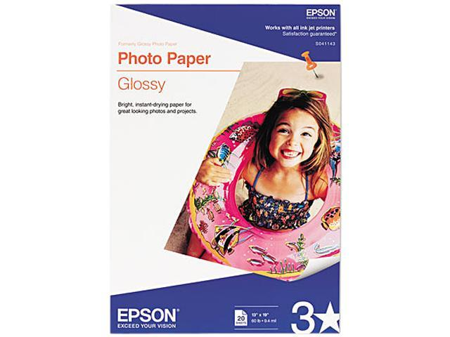 EPSON S041143 Glossy Photo Paper, 60 lbs., Glossy, 13 x 19, 20 Sheets/Pack
