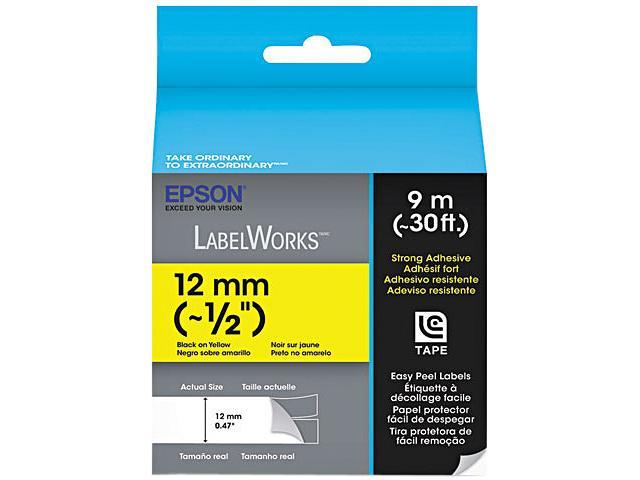 "Epson LC-4YBW9 Strong Adhesive Label Cartridge Label Tape Black on Yellow - 0.47"" Width x 30 ft Length - 1 Roll - Thermal ..."