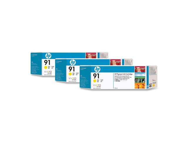 HP 91 3-pack 775-ml Yellow Ink Cartridges(C9485A) for HP Designjet Z6100