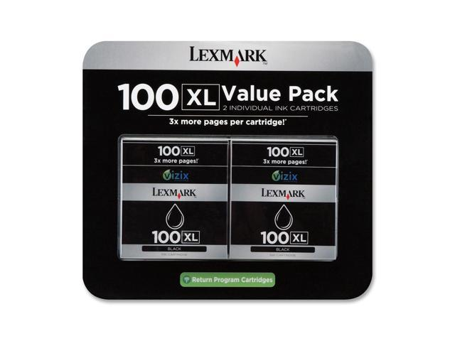 Lexmark 14N0683 100XL Black High Yield Return Program Ink Cartridge Twin-Pack for S305, S405, S505, S605, S815, Pro205, Pro705