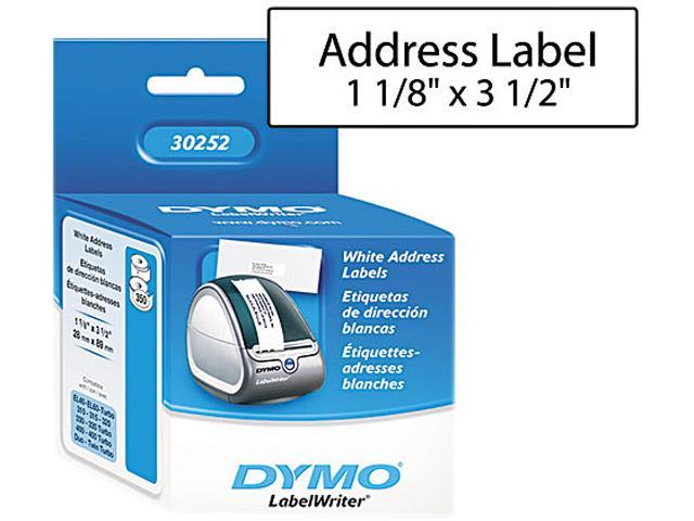 "Dymo 30252 Address Label 1.12"" Width x 3.50"" Length - 350/Roll - Paper - White"