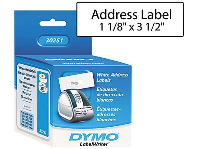 DYMO 30251 Address Labels, 1-1/8 x 3-1/2, White, 260/Box