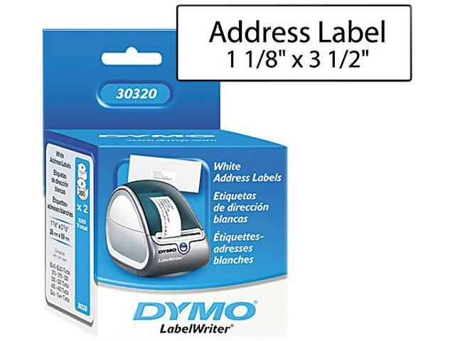"Dymo 30320 Address Labels 1.13"" Width x 3.50"" Length - 260/Roll - 1"" Core - White"