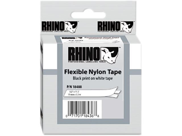 DYMO 18488 Rhino Flexible Nylon Industrial Label Tape Cassette, 1/2in x 11-1/2 ft, White