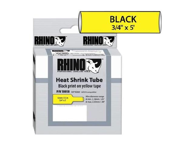 "DYMO 18058 3/4"" Yellow Heat Shrink Tubes, 5' long, 1 per box"