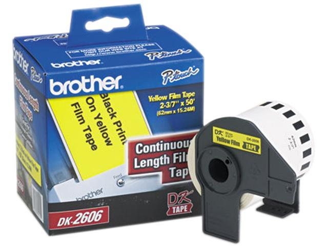 """Brother DK2606 Continuous Film Label Tape, 2-3/7"""" x 50ft Roll, Yellow"""