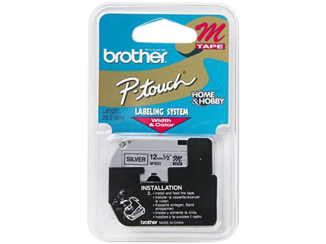 Brother P-Touch M931 M Series Tape Cartridge for P-Touch Labelers, 1/2w, Black on Silver