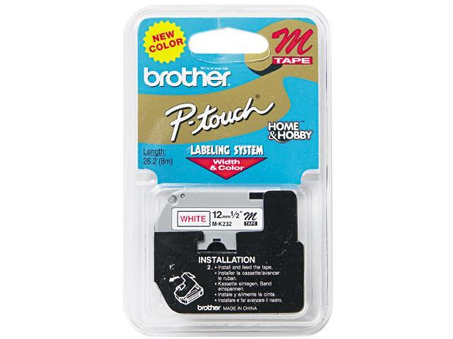 Brother P-Touch MK232 M Series Tape Cartridge for P-Touch Labelers, 1/2w, Red on White