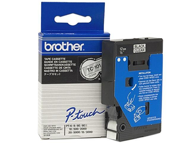 brother TC101 Black on clear   P-Touch Tape 12mm