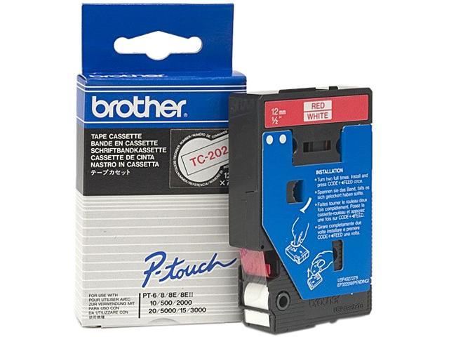 brother TC202 1 Roll Red on White Printer tape - Roll (1.2cm x 7.7m) - 1 pcs