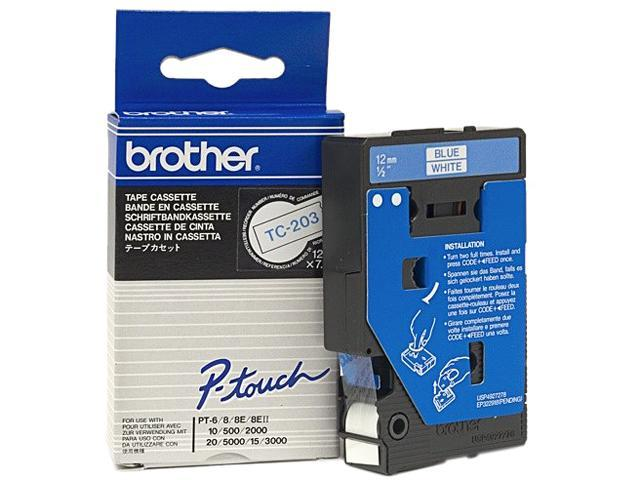 brother TC203 1 Roll Blue on White Printer tape - Roll (1.2cm x 7.7m) - 1 pcs