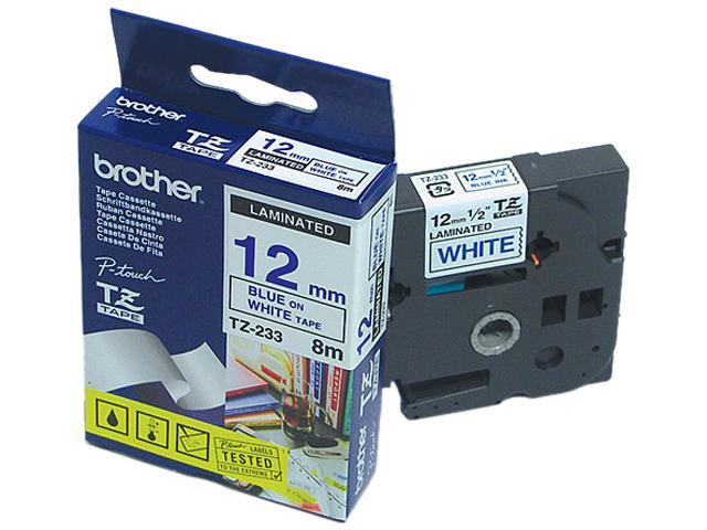 brother TZ233 Blue on White  P-touch TZ Label Tape 12mm x 8m