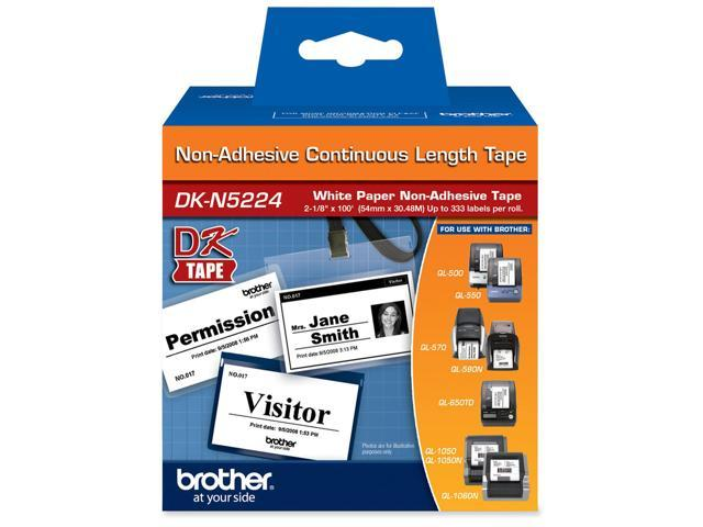 Brother DKN5224 2.1 in x 100 ft (54 mm x 30.4 m) Black on White Non-Adhesive Continuous Length Paper Tape