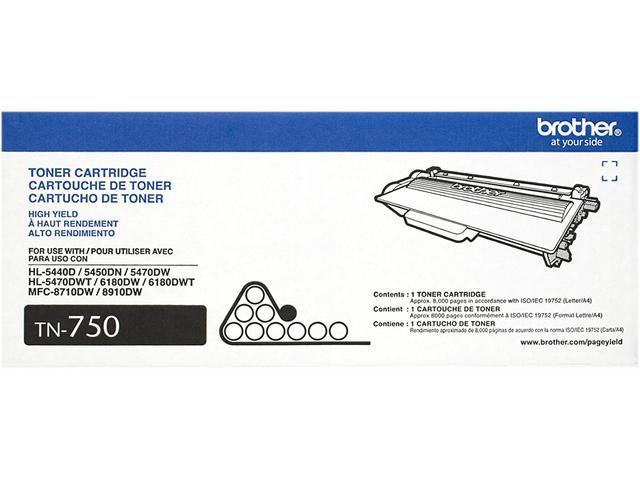 Brother TN750 Toner Cartridge 8,000 Pages Yield; Black