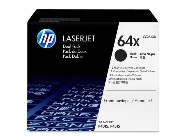 HP 64X Black High Yield 2-Pack LaserJet Toner Cartridges (CC364XD)